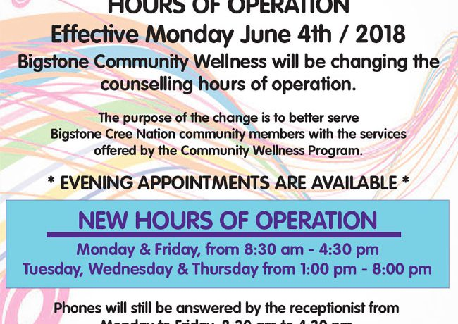 Bigstone Community Wellness New Hours of Operation