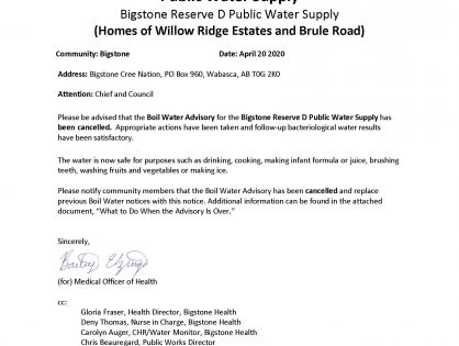 BOIL WATER ADVISORY *** CANCELLATION *** Public Water Supply
