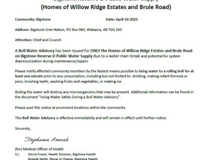 URGENT ***BOIL WATER ADVISORY*** BWA Bigstone Reseve D April 10 2020