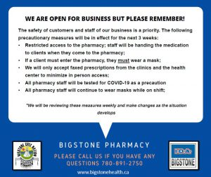 BIGSTONE PHARMACY | WE ARE OPEN FOR BUSINESS BUT PLEASE REMEMBER!