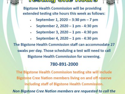 Extended Bigstone Health Commission COVID-19 Testing Site Hours